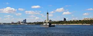 Hintergrundbilder Denkmal Flusse Wolgograd Monument to Fallen River Workers on Volga