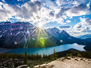 Picture Landscape photography Canada Parks Mountains Lake Banff Clouds Rays of light Nature