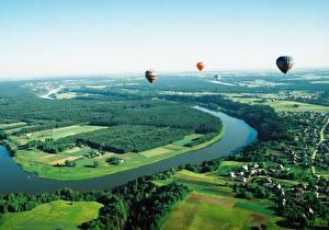 Bilder Landschaftsfotografie Litauen Wald Felder Von oben Fesselballon Neringa Natur Städte