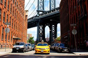 Sfondi desktop USA Taxi - Auto Ponte New York Via della città Città Auto
