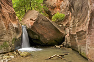 Hintergrundbilder USA Park Wasserfall Zion-Nationalpark Canyon Felsen Utah