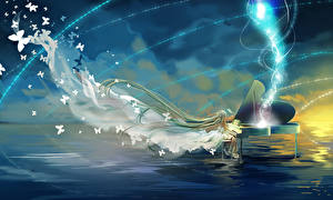 Fonds d'écran Vocaloid Hatsune Miku Piano Anime Fantasy Filles