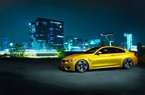 Wallpaper Germany BMW Night Yellow Side F82 M4 Cars