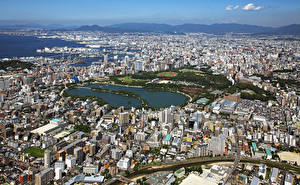 壁纸、、日本、住宅、メガロポリス、上から、Fukuoka、都市