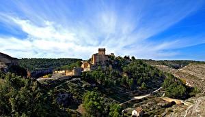 Wallpaper Spain Castle Landscape photography Sky Alarcon Cities