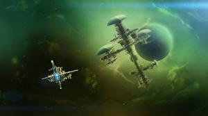 Bureaubladachtergronden Planeten Schip space station deep space Fantasy Ruimte