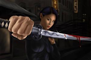 Fonds d'écran Guerrier Asiatique Katana Sabre Sang Main Fantasy Filles