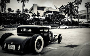 Wallpapers Antique Back view hot rod Cars Cities