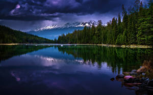 Photo Canada Mountains Lake Landscape photography Storm cloud Trees Jasper Park Valley of Five Lakes Nature