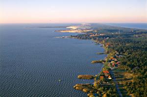 Hintergrundbilder Landschaftsfotografie Litauen Küste Gebäude Wald Von oben Nida Natur