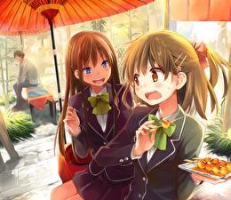 Tapety na pulpit Uczennice Dwoje Parasol eretto Anime Dziewczyny
