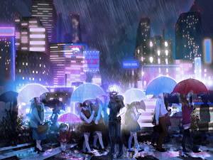 Tapety na pulpit Tokyo Ghoul Deszcz Parasol Ulica Chłopacy kaneki ken Anime Miasta Dziewczyny