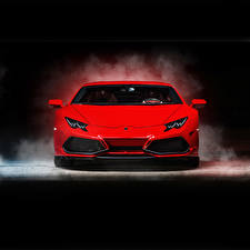 Wallpapers Lamborghini Red Front Luxurious 2015 Ares Design Huracan LB724 auto
