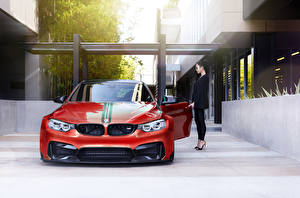 Desktop wallpapers BMW Tuning Red Front m4 Vorsteiner GTRS4 auto Girls