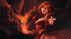 Picture DOTA 2 Lina Warriors Magic Redhead girl vdeo game Girls Fantasy