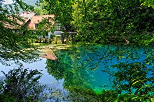Hintergrundbilder Deutschland Flusse Sommer Haus Ast Blaubeuren Natur