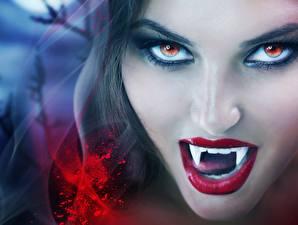 Hintergrundbilder Vampir Gesicht Zähne Blick Schminke Fantasy Mädchens