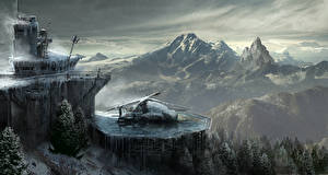 Bilder Rise of the Tomb Raider Gebirge Hubschrauber computerspiel