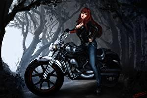 Fotos Vampir Motorradfahrer Rotschopf Fantasy Mädchens