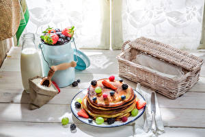 Wallpaper Still-life Pastry Hotcake Fruit Milk Bottle Plate Wicker basket Food