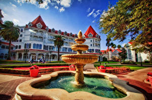 Bilder Disneyland Springbrunnen USA Florida HDRI Disneys Grand Floridian Resort, Walt Disney World, Windermere Städte