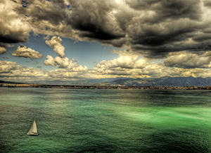 Wallpapers Landscape photography Italy Sea Sorrento Clouds HDRI Nature