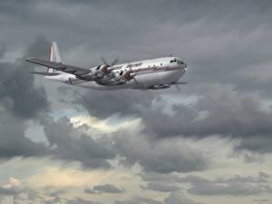 Bilder Gezeichnet Verkehrsflugzeug Boeing Boeing 377 Luftfahrt
