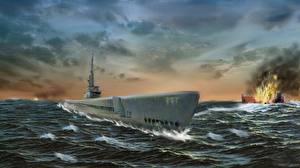 Images Submarines Painting Art USS Bowfin Submarine
