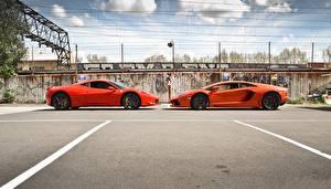 Wallpapers Lamborghini Ferrari Orange Two aventador lp700-4 italia 458 automobile