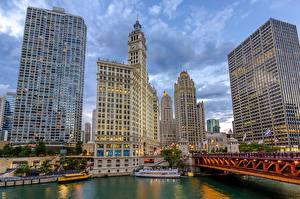 Fotos USA Wolkenkratzer Chicago Stadt HDR Cityfront Center, Illinois Städte