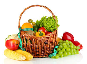 Picture Corn Apples Bell pepper Grapes Vegetables Fruit Wicker basket Food