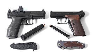 Photo Pistols Knife Closeup H Army