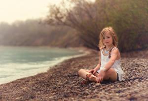 Bilder Steine Kleine Mädchen Sitzt Lorna Oxenham Beach kind