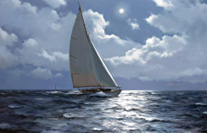 Picture Pictorial art Sailing Yacht Sea Clouds naval art Nature