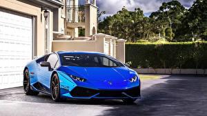 Wallpapers Lamborghini Blue Front Huracan Cars
