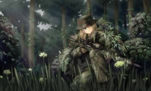 Photo Soldiers Forests Snipers Camouflage tc1995 Anime Girls