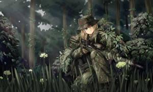 Bureaubladachtergronden Soldaten Bossen Sniper Camouflage tc1995 Anime Jonge_vrouwen
