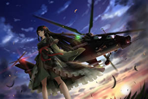 Fonds d'écran Hélicoptères Kimono tc1995 Anime Filles