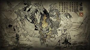 Image DOTA 2 Crystal Maiden Lina Warrior Shadow Fiend Monsters Dragon Winter Wyvern Fantasy