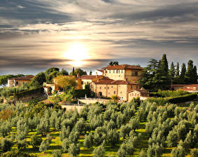 Image Italy Building Gardens Sunrises and sunsets Sky Tuscany Trees Cities