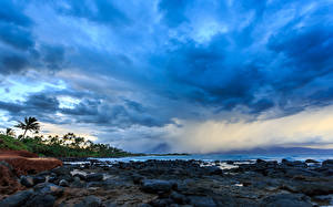 Picture Sky Sunrises and sunsets Ocean Hawaii Storm cloud Clouds Kahului, Hawaii, Maui, Pacific Ocean Nature