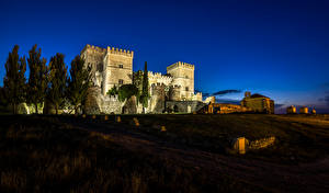 Wallpapers Spain Castles Night Ampudia Castle Cities