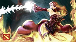 Images DOTA 2 Lina Warrior Magic Redhead girl Girls Fantasy
