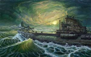 Wallpaper Submarines Painting Art U-Boot military