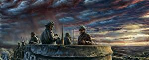Photo Submarines Soldiers Painting Art