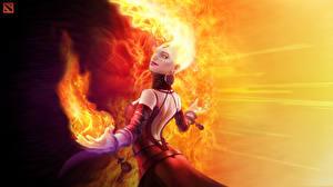 Photo DOTA 2 Lina Warrior Magic Fire vdeo game Fantasy Girls