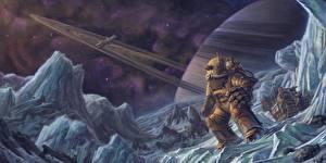 Bureaubladachtergronden Techniek Fantasy Planeet oppervlak Fantasy Ruimte