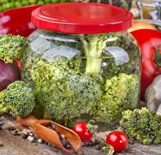 Papel de Parede Desktop Hortaliça Brócolos Frasco de vidrio