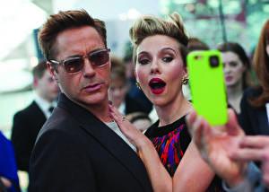 Pictures Robert Downey Jr Scarlett Johansson Glasses Telephone London April 21 Photo 2015 by James Gillham, Marvel European Premiere Celebrities Girls