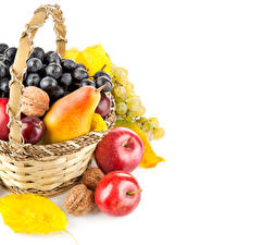 Images Fruit Apples Pears Grapes Wicker basket Foliage